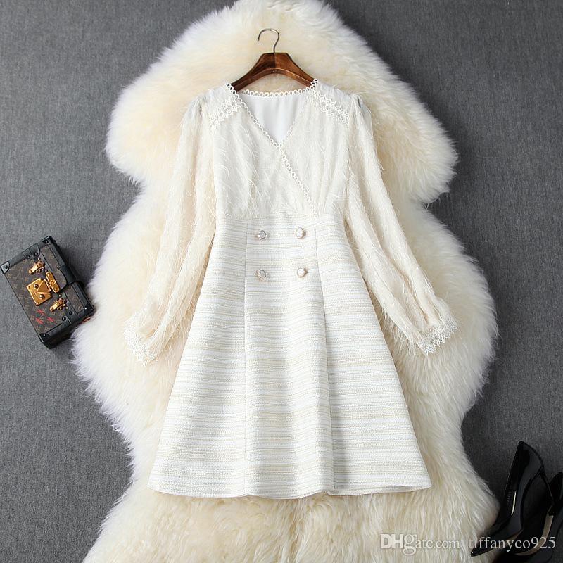 2020 Осень Зима Ivory с длинным рукавом V шеи полосатые Печать Tweed Кнопки Короткие панелями платье мини моды Повседневные платья N11T10419