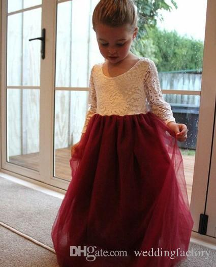 Two Tone Lovely Flower Girls Dresses for Weddings Kids Formal Gowns Jewel Neck Illusion Long Sleeves Lace Tull Colored Flower Girl Dress
