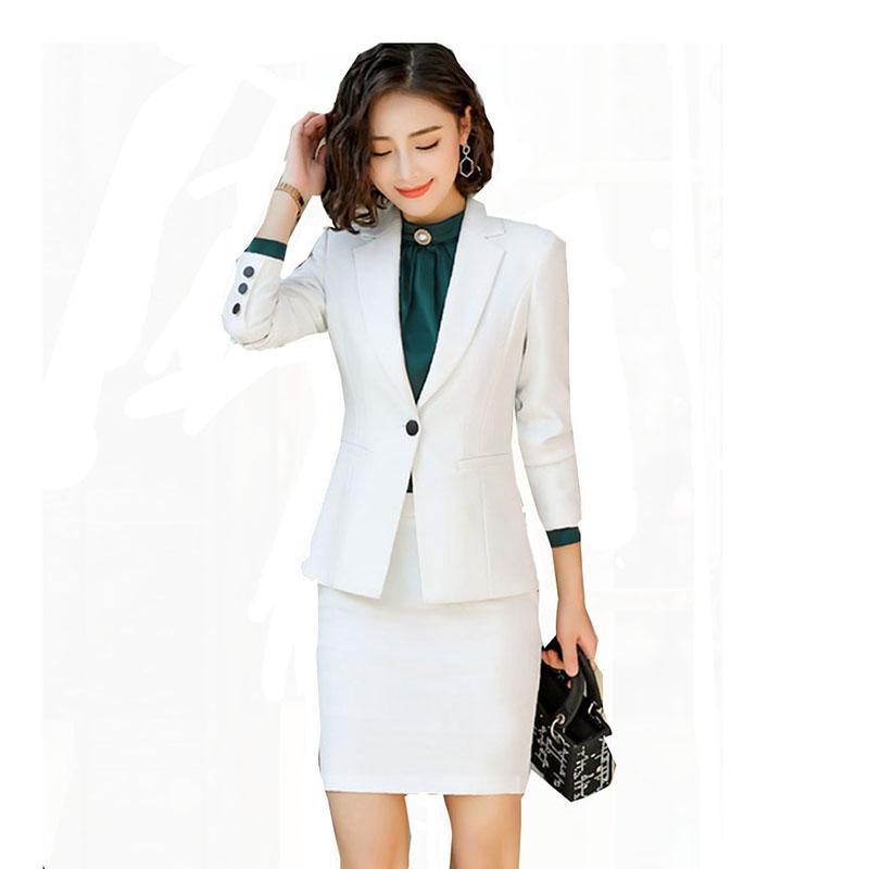 2019 Women Office Lady Single Breasted Work Suit Female Business Blazer Jacket+ Elegant Skirt 2 Pieces Formal Uniform