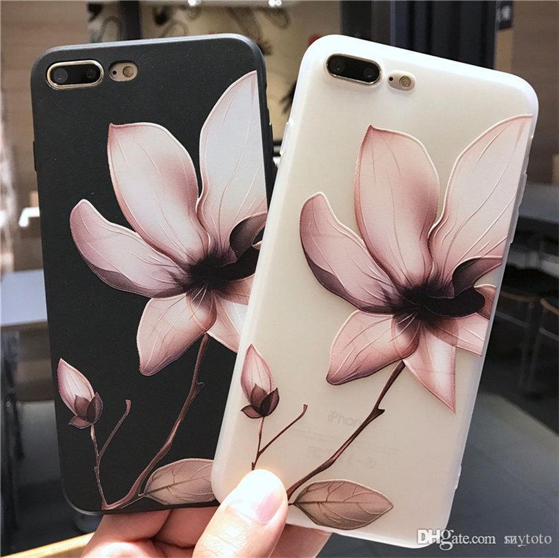 Mytoto Lotus Flower Case für iPhone 8 Plus 3D Relief Rose Floral Blätter Telefonkasten für iPhone X 7 6 6S Plus 5 SE TPU klare Abdeckung