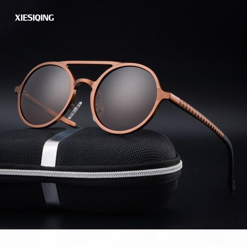 2017 nuova delle donne Retro rotonda Telaio in alluminio da sole del progettista di marca degli uomini occhiali da sole rotondi polarizza Oculos de sol
