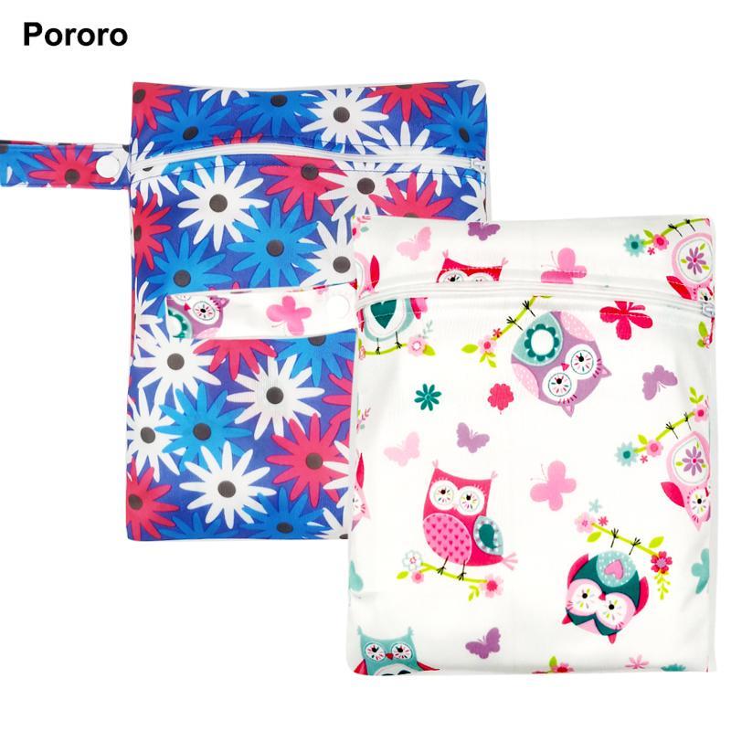 Мать Дети 20 * 25см Pororo один карман мокрая, ткань младенца мешок пеленки, непромокаемые многоразовые пеленки мешки, малый размер мумии сухой мешок оптовой