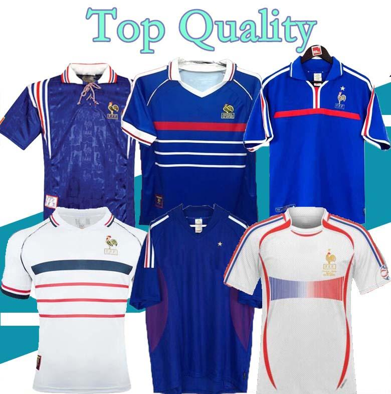 1998 Francia 레트로 빈티지 축구 유니폼 Zidane Henry Maillot 1996 2004 Football Jersey Shirt Trezeguet Away Finals 2006 White 2000 2002