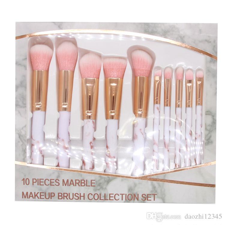 10pcs Marble Makeup Brush 3 Colors High Tech Make Up Brushes Set brocha de maquillaje Box Pakcing