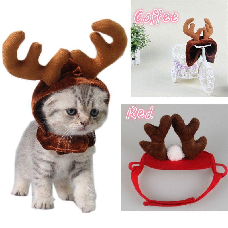 Yavru Köpek Kedi Peluş Noel Stil Kostüm Cap İçin 2018 Parti Dekorasyon Sevimli Noel Reindeer Pet Hat