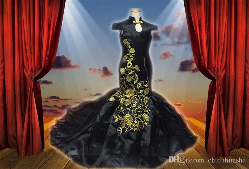 Noir style chinois haut col broderie sirène organza filles Cour Pageant Robes de fête d'anniversaire Robe La cérémonie de remise des diplômes