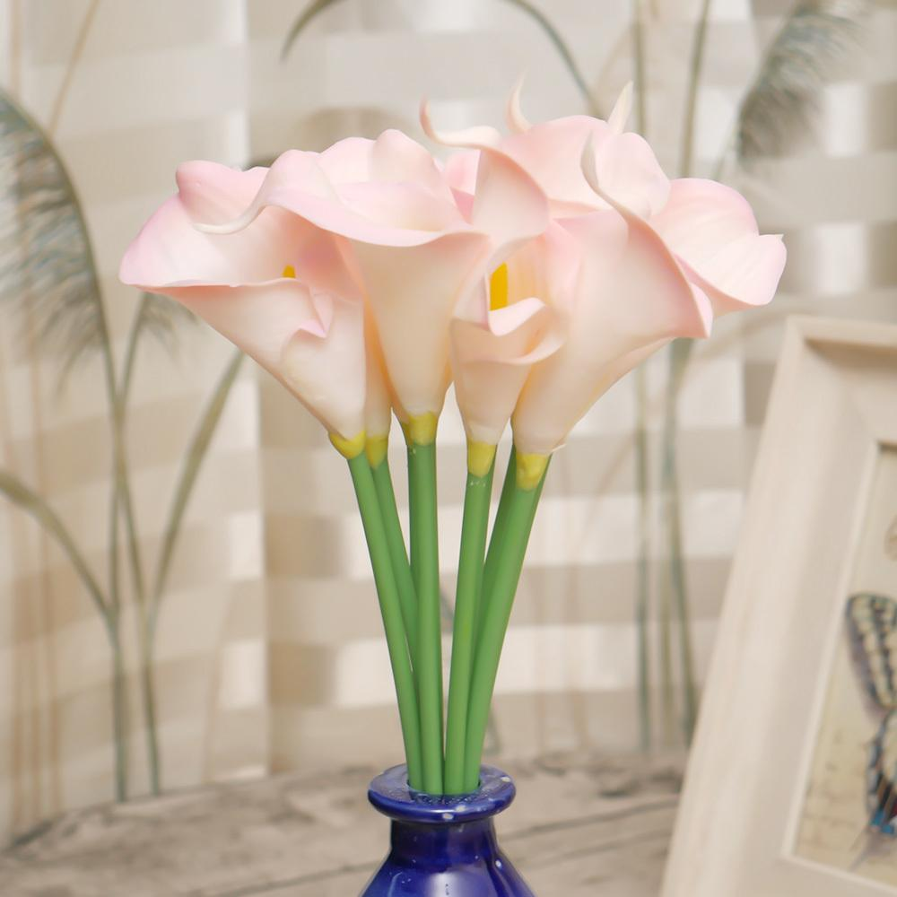 10pc/bundle Artificial Latex Calla Lily Flower Sweet Beautiful Fake Flower For Home Living Office Wedding Bridal Bouquet Decor