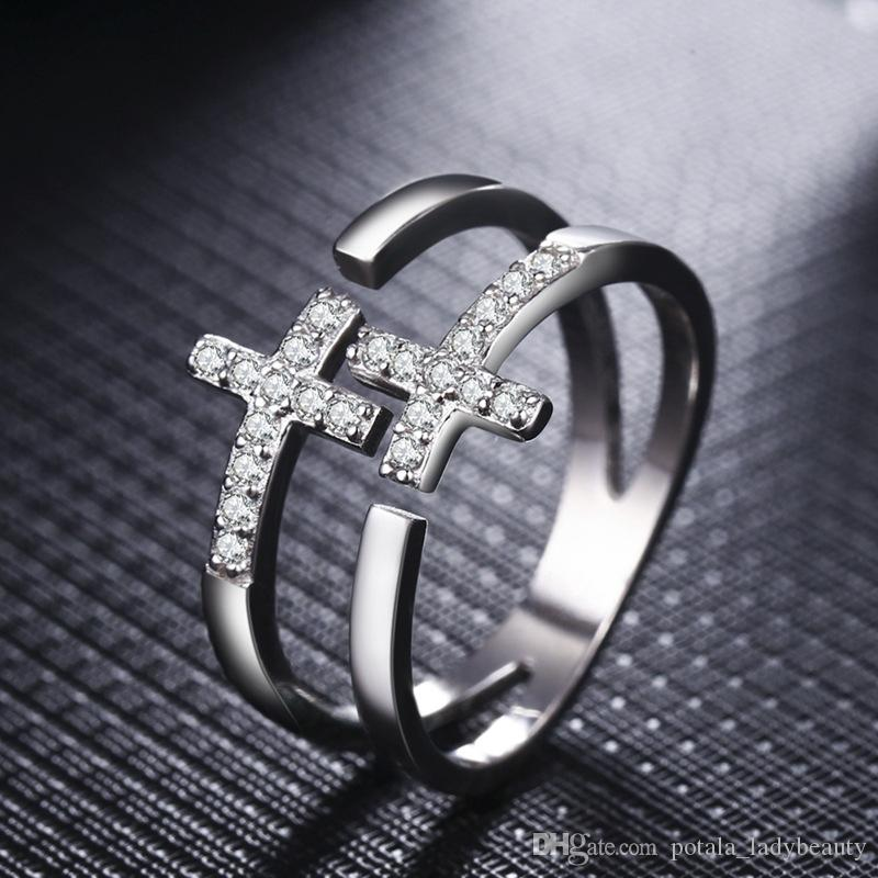 Platinum Silver Ring Double Cross Diamond Ring Female Fashion Opening 2 in 1 Simple Double Layer Crystal sumptuous Elegant Woman Accessories