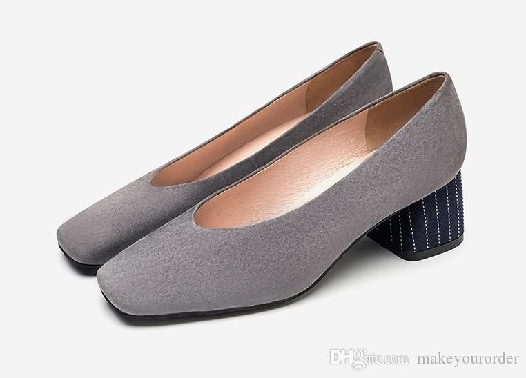heel 5cmchunky heel grey color new suede square head comfortable mid-heel cover foot single shoes female 598