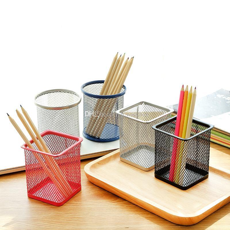 Malla metálica titular de la pluma plaza de forma redonda Herramientas envase cosmético escritorio de oficina papelería lápiz cepillo de almacenamiento Pot
