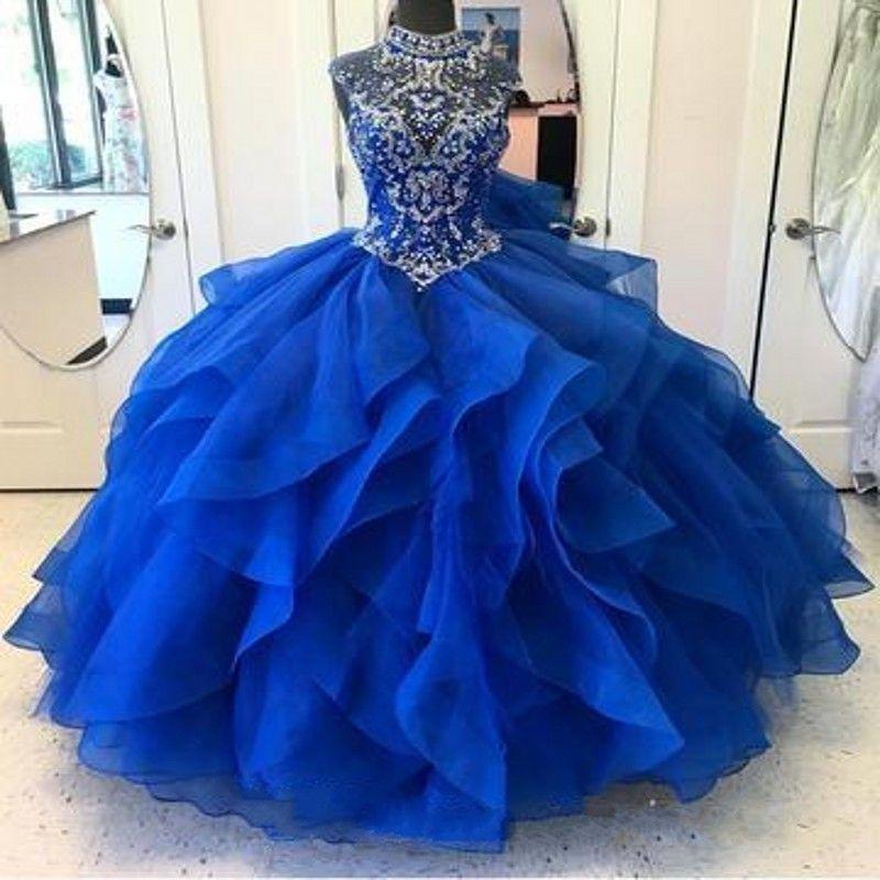 Royal Blue Quinceañera Vestidos de cristal de cuello alto corpiño corsé organza en capas bola vestido princesa vestido de fiesta encaje