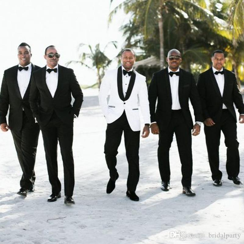Blanco Negro Slim Fit 2 Piezas Trajes de hombre para la boda Mantón de solapa Trajes de novio Traje de esmoquin de boda para hombres