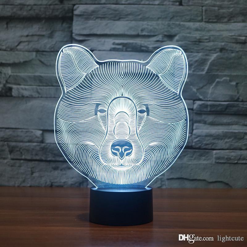 Urso bonito 3D Lamp Noite Quarto animal lâmpada Led Acrílico Night Light Home Decor, ilusão 3D Lamp táctil de 7 Alterar cor, prenda de Natal de aniversário de criança