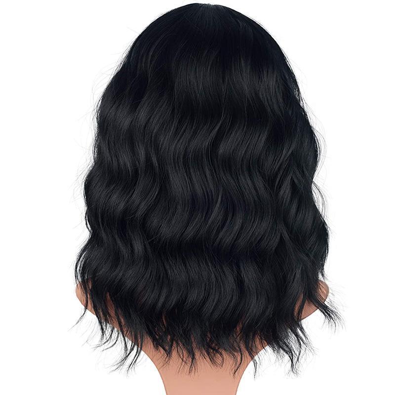 Peluca rizado hasta los hombros Tamaño promedio sintéticas onduladas con flequillo para las mujeres de 14 pulgadas Negro Natural