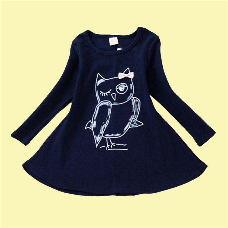 OWL niñas vestidos impresos 2 colores completo de la manga niños de dibujos animados de moda Ropa niños Ropa para niñas bJY13