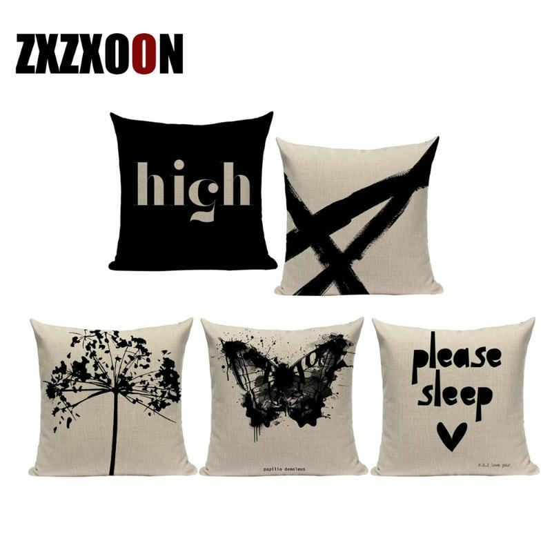 Decorative Throw Pillows Case Black White Plant Trees Animals Letter Sofa Home Decor Cushion Cover for Living Room Decoration