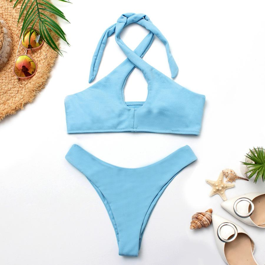 Ineffable New Womens Solid Color Special Fabric Bikini Sexy Cross Halter Two-Piece Swimsuit