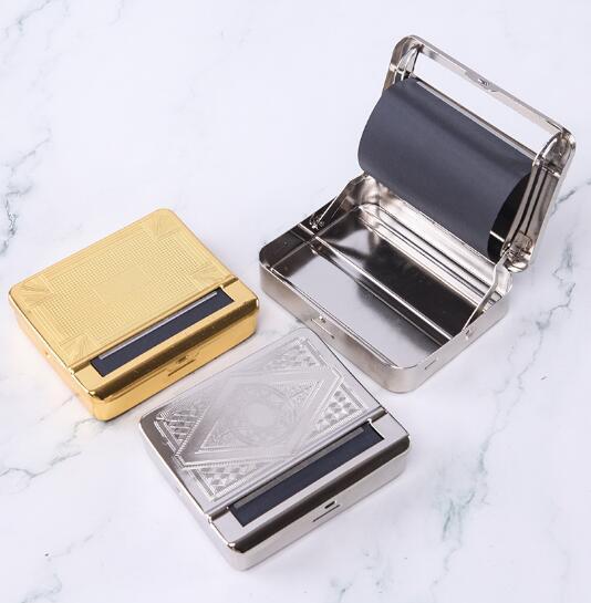 DHL 금속 자동 담배 담배 흡연 골드 실버 롤링 기계 연기 롤러 박스 케이스 맞춤 70mm의 78mm 논문에 대한