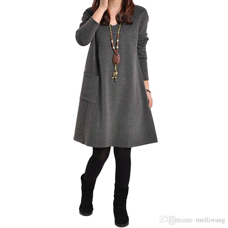 가을 드레스 여자 겨울 긴 소매 주머니 단단한 O 넥 캐주얼 루스 파티 드레스 패션 Vestidos 플러스 크기 S-5XL