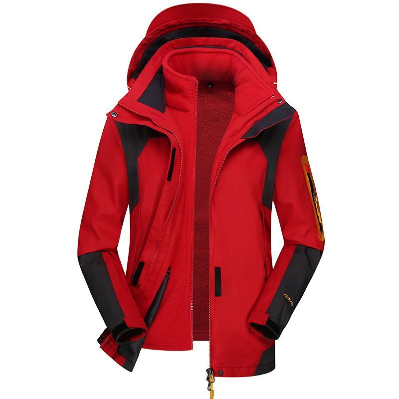 Herbst und Winter neue Art-Drei-in-One Kontrastfarbe der beiläufigen Männer Wind-Resistant Jacke Kühle Reitbekleidung Regenmantel Jacke