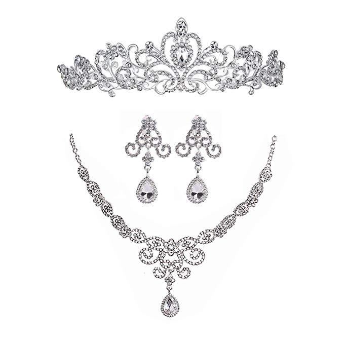 Silver Rhinestone Crystal Necklace Earrings & Crown Set Wedding Jewelry Sets Bridal Necklace Tiara
