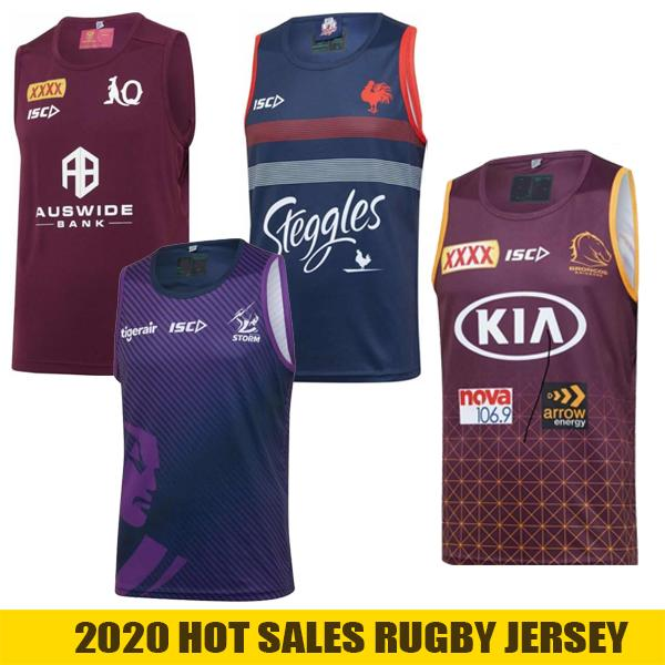 2020 Gilet de rugby Melbourne Storm Qld Maroons Jersey Jerseys Brisbane Broncos Sydney Roosters Rugby League Jersey