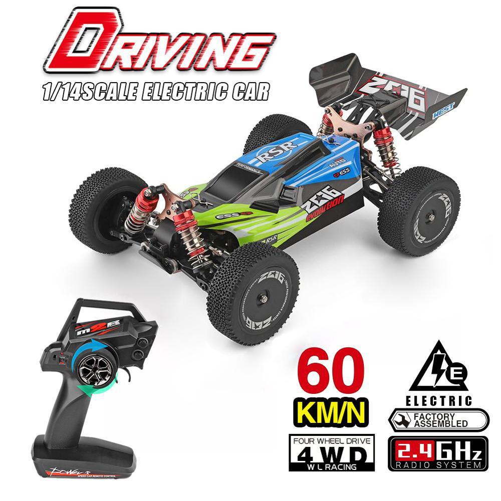 Alta calidad WLTOYS 144001 1/14 2.4G control remoto RC modelos de carreras de coches 4WD alta velocidad del vehículo 60 kmh niños juega el regalo MX200414