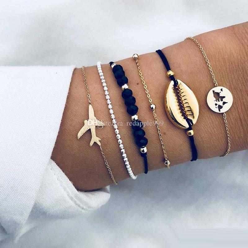 6pcs/Lot New Bohemian Sea Shell Bracelets Set For Women Gold aircraft Map charm crystal beads chains Bangle Female Fashion Boho Jewelry