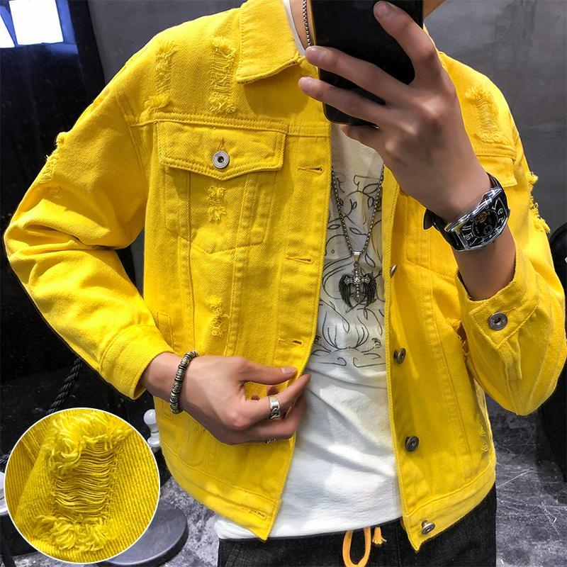 Autunno Nuovo Giallo Giacca di jeans super bello Coppia cappotto del rivestimento Fashion Street Style Brokean Hole di alta qualità di formato S-3XL