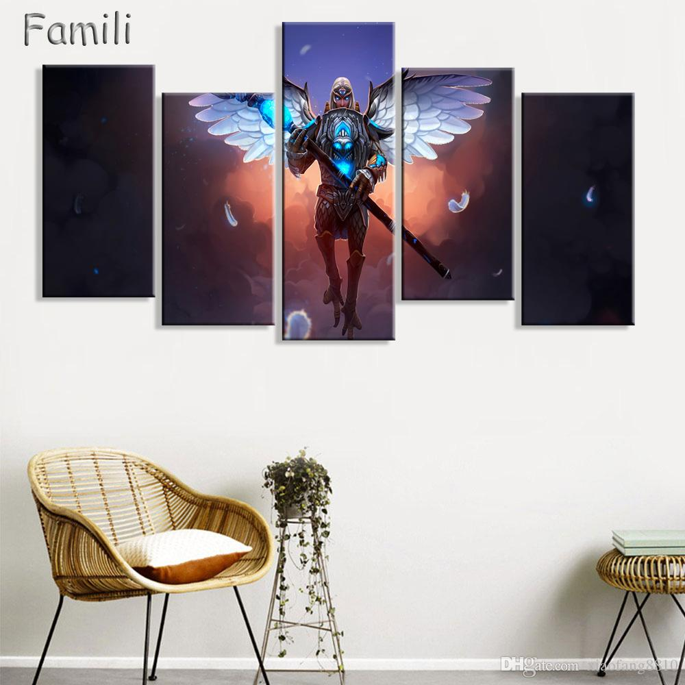 5Pcs/set large HD printed oil painting Angel Girl canvas print art home decor idea wall art pictures for living room