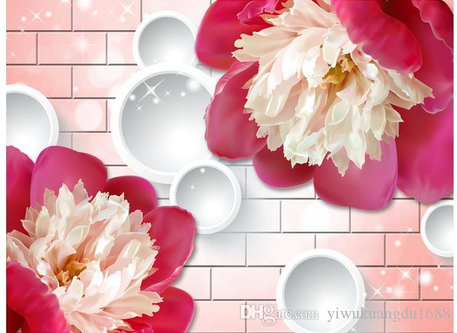 3D 벽 벽돌 모란 꽃 TV 배경 벽 3d 벽화 벽지 거실