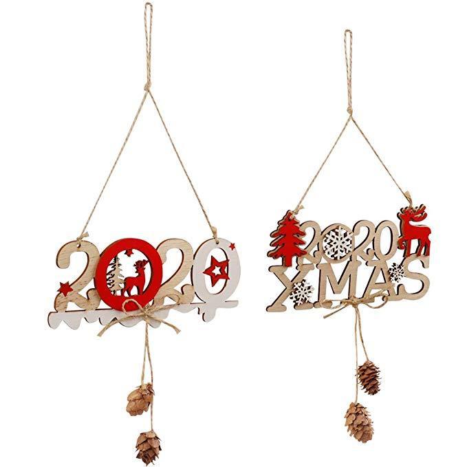 Noel Asılı Işaretleri 2020 Elk Noel Ahşap Dekorasyon Mektubu Yeni Yıl Mutlu Kapalı Açık Noel Partisi Duvar Asılı Süslemeleri M557F