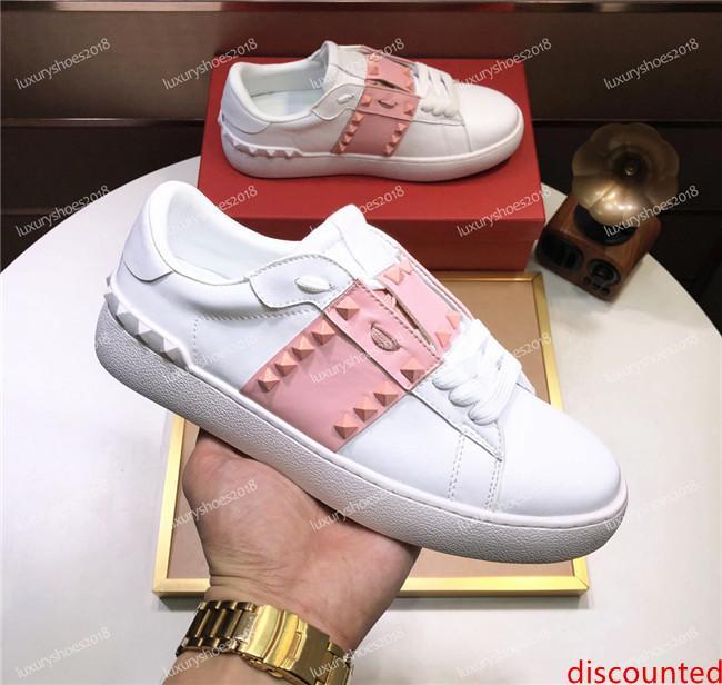New Women s Fashion Designer Sneakers corte baixo sapatos de couro de luxo para homens mulheres partido de Spike casamento Couro Plataforma sapatilhas