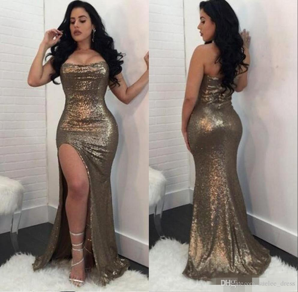 Bling paillettes senza spalline Prom Dresses Mermaid Sexy Side Fessura alta Split Long Evening Party Gown formale Occasioni Wear Custom Made