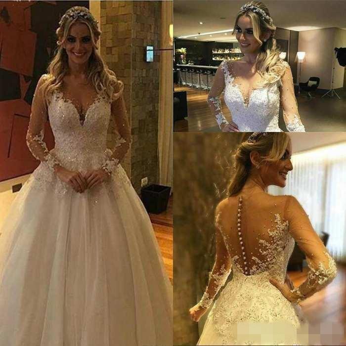 Великолепные длинные рукава свадебные платья из бисера Crystals Illusion Покрытые кнопки Назад Jewel Шея Страна Свадебные платья Платье-де-Novia
