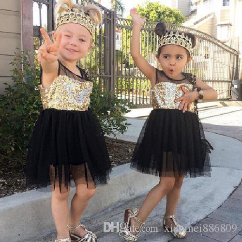 Süßes Mädchen Pailletten Gaze Rock Prinzessin Hochzeit Sommerfest Tutu Tüll Kleider