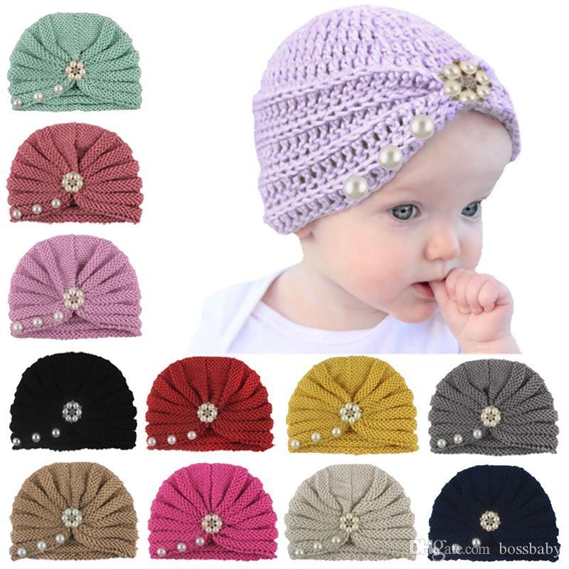 Bebek Bebek Örgü Şapka Kız İnci Boncuk Çiçek Hint Caps Çocuk Katı Kızlar Açık hımbıl kasketleri Kafatası Enfant Tığ Hat 06 Caps