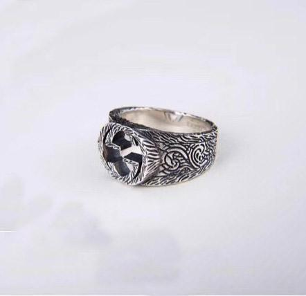 anel S925 pura prata noivado amantes da moda com palavras ocas Design Amante casal jóias anéis PS5445