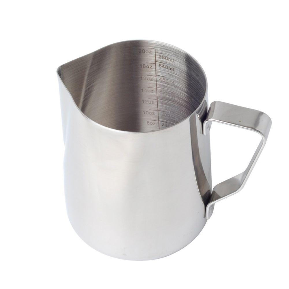 Kaffeetasse mit Skala Krug Silber Aufschäumen von Milch Pitcher Werkzeug Büro Barista Küche Praktische Latte Art Geschenk Anti Scald