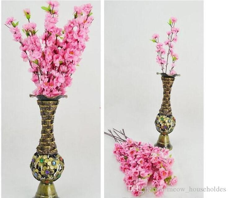 Flor de durazno simulada Decoración para el hogar 60 cm / 24 pulgadas Ramas artificiales de durazno Flor de cerezo Flores de seda Decoración de la boda en el hogar Flor
