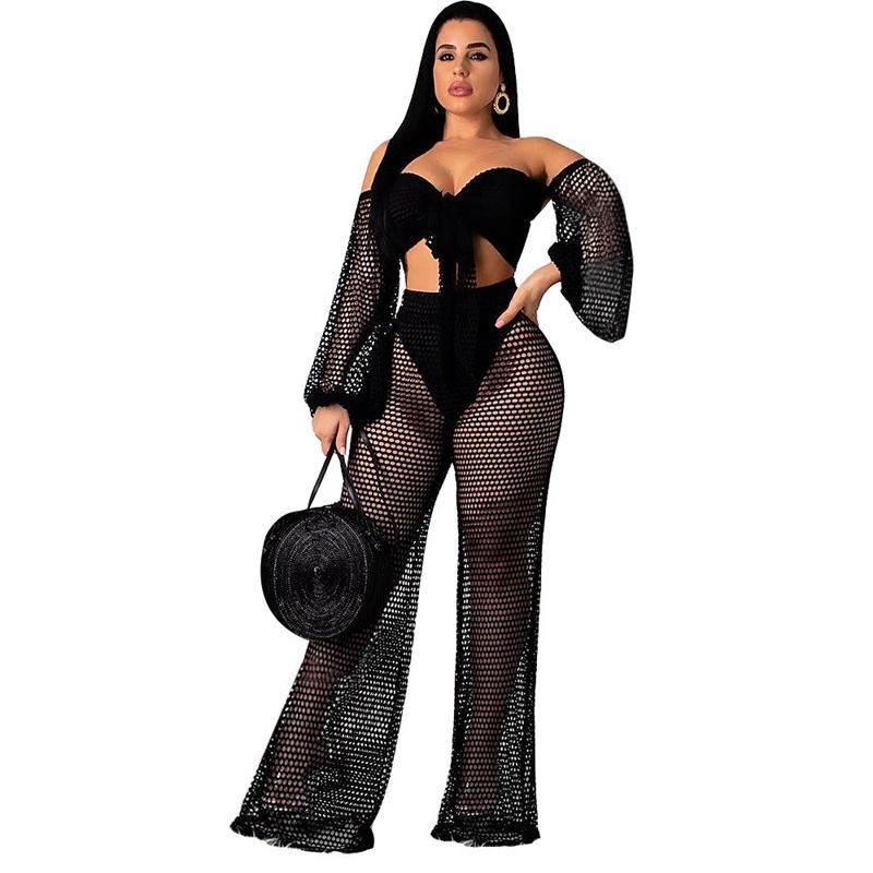 Résille Beachwear Mesh Voir Bien que la plage couvrante femmes évider maillot de bain Cover Ups plage de bain Set Up Tunique