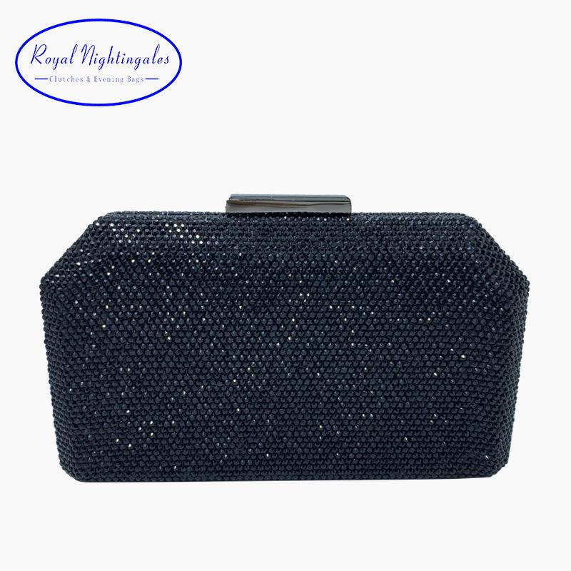 RN New Rhinestone Party Clutch Metal Hard Box Clutch Bag With Chain Evening Handbags Crystal Evening Bags Black