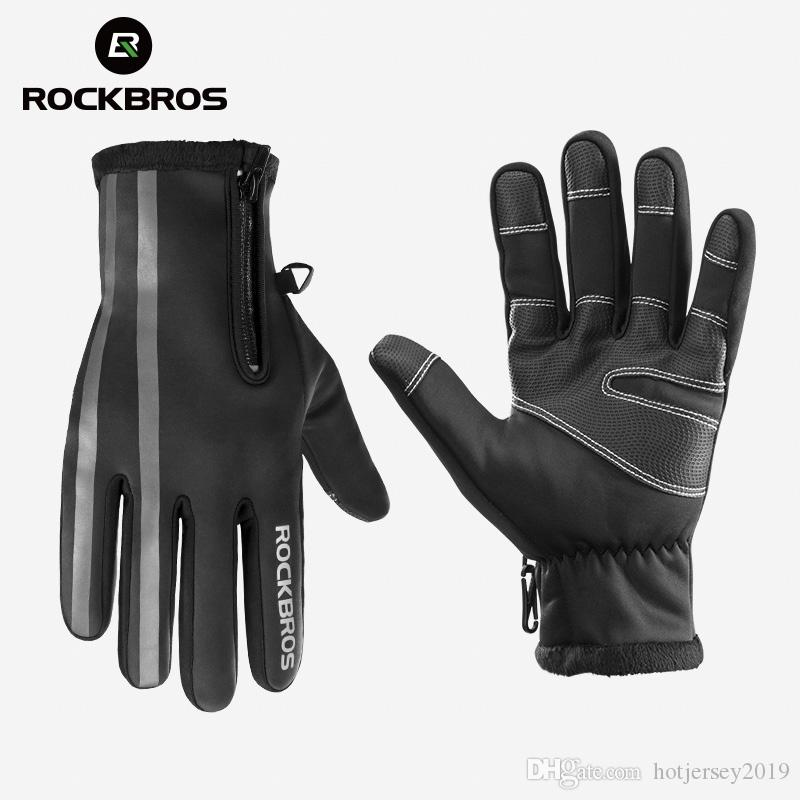 RockBros Cycling Windproof Water Resistant Fleece Thermal  Full Finger Gloves