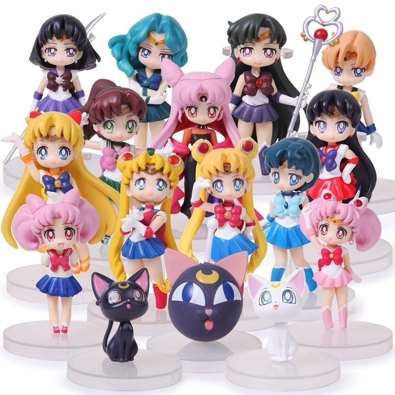16pcs / lot Anime Sailor Moon Figuras Q Versão Tsukino Usagi Sailor Marte Mercúrio Júpiter Vênus Saturno PVC Figure Toys Y19062901