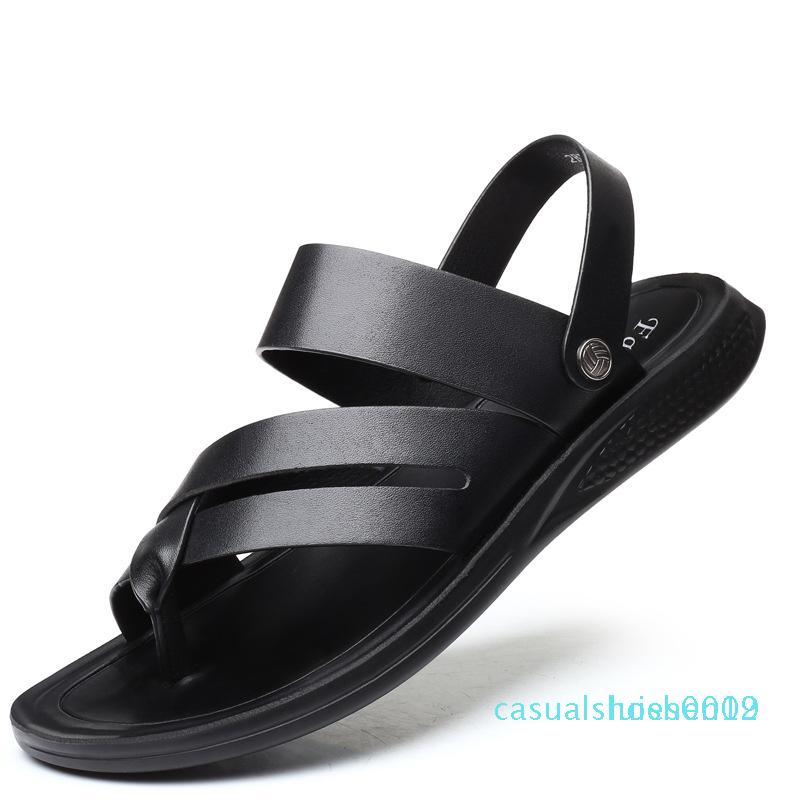 Verão novos homens respirável tendência sapatos de praia calcanhar plana de duas vias sandálias e chinelos homens sandálias l12