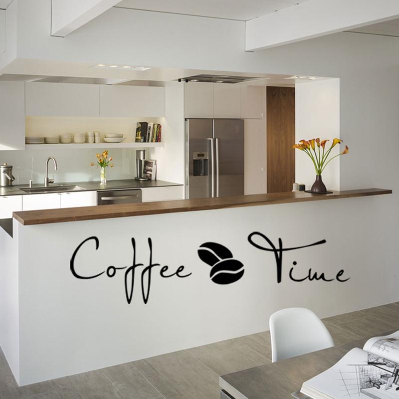 Großhandel Kaffee Zeit Cafe Wandaufkleber Sprichwort Englisch Wandaufkleber  Cafe Küche Dekoration Kunst Wand Abnehmbare Wohnkultur Wohnzimmer Von ...