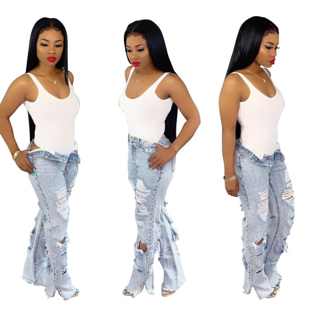 Sólido de la manera Pantalones Denim Jeans para mujer atractiva del agujero talle alto jeans ajustados oficina de señora