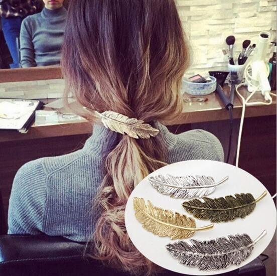 Клип листьев перо дизайн Панк девушка женщины волос Pin лапка Barrettes Аксессуары для женщин Свадебного подарка партии