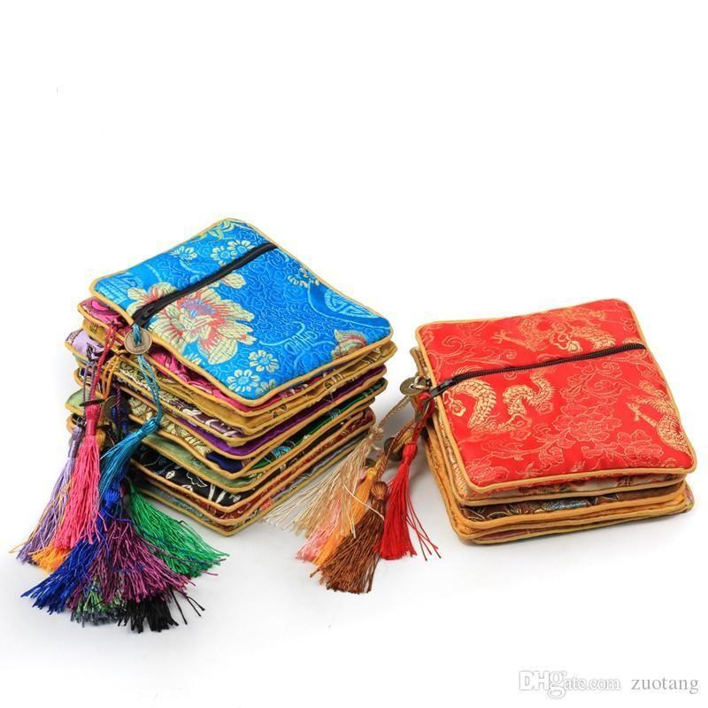 زيبر الصغيرة ميدان الحرير القطيفة الحقيبة حقائب مجوهرات هدية الشرابة الصينية عملة المحفظة تغليف الحقائب 10PCS لون الكثير مزيج الشحن المجاني