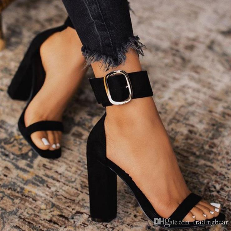 Plus Size 35 to 40 41 42 Black Buckle Ankle Strap Open Toe Chunky Heel Gladiator Sandals Come With Box